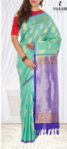 ice blue purple pure kanchipuram handloom silk saree 135x300